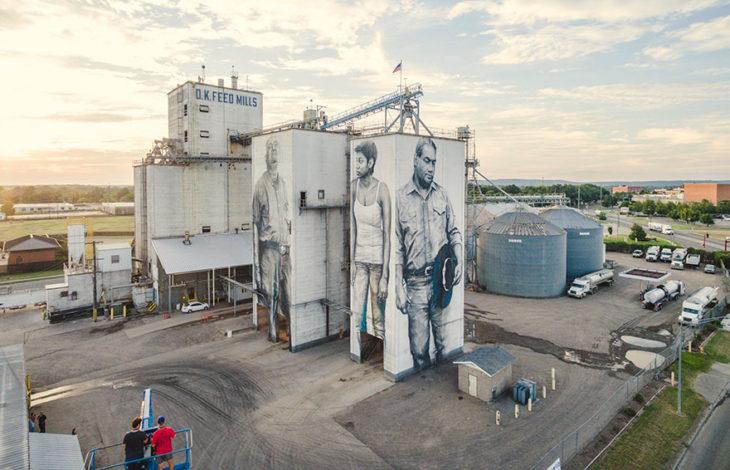 mural de trabajadores vista panorámica