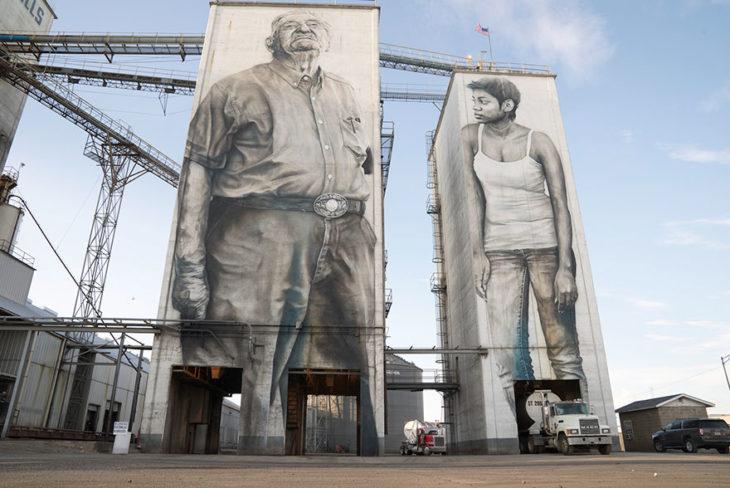 mural de personas trabajadors