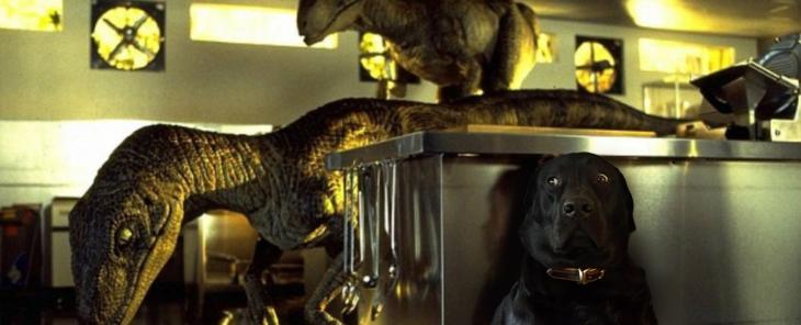 Batalla PS - perro escondiéndose de dinosaurios