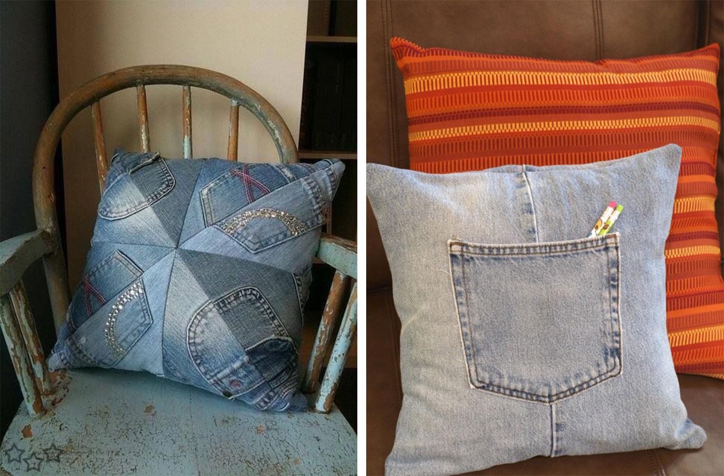 20 ideas geniales para que recicles tus playeras y jeans - Cojines con tu foto ...