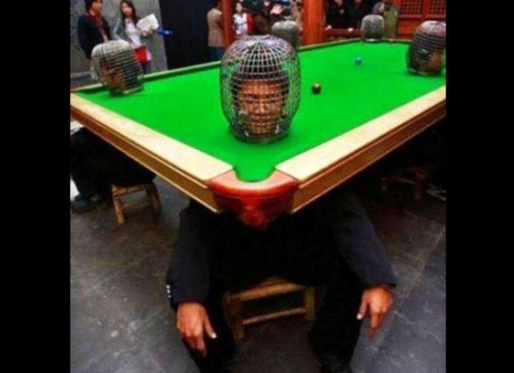Fotos sin sentido - chinos con sus cabezas en jaulas en una mesa de billar