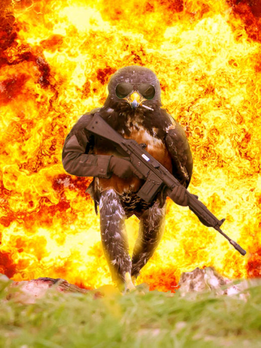 Halcón Batalla PS - con metralleta y lentes y cigarro y una explosión atras