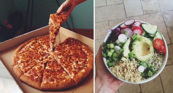 2 Tipos de chicas - pizza y ensalada