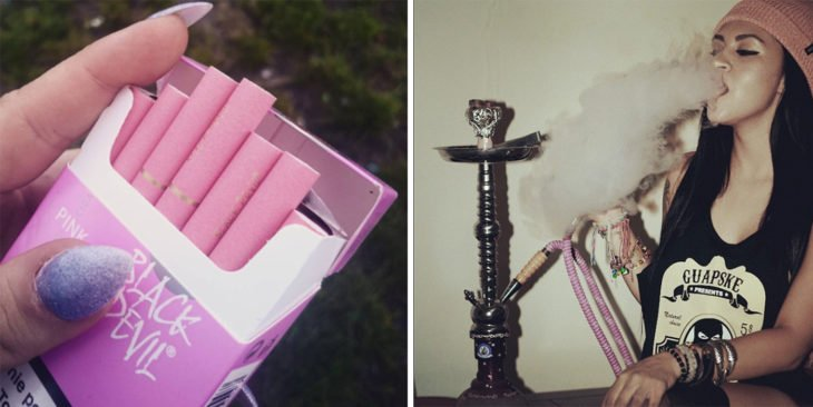 2 Tipos de chicas - cigarros rosas y pipa