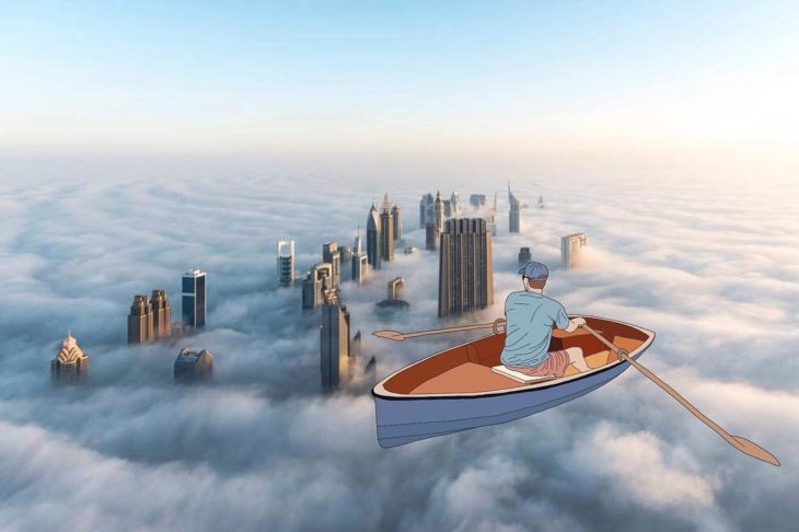 Ilustraciones Julia - Hombre remando en el cielo