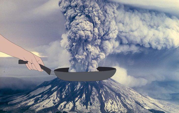 Ilustraciones Julia - sartén arriba de un volcán