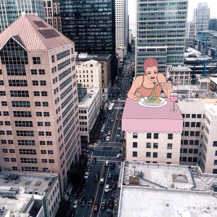 Ilustraciones Julia - Mujer cenando en un edificio