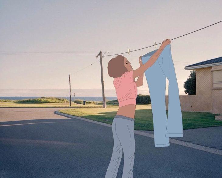 Ilustraciones Julia - Mujer colgando la ropa en cables de luz