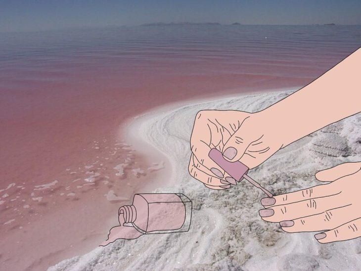 Ilustraciones Julia - Pintauñas derramado en el mar