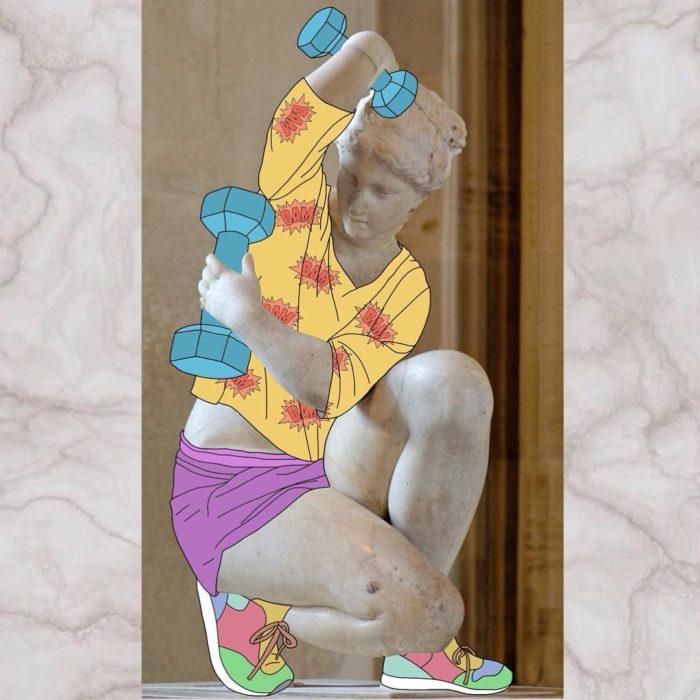 Ilustraciones Julia - Escultura afrodita agachado haciendo pesas