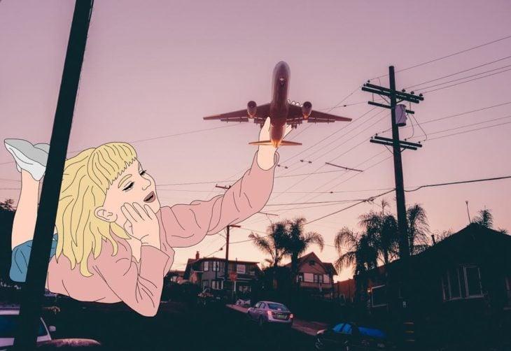 Ilustraciones Julia - Niña jugando con un avión