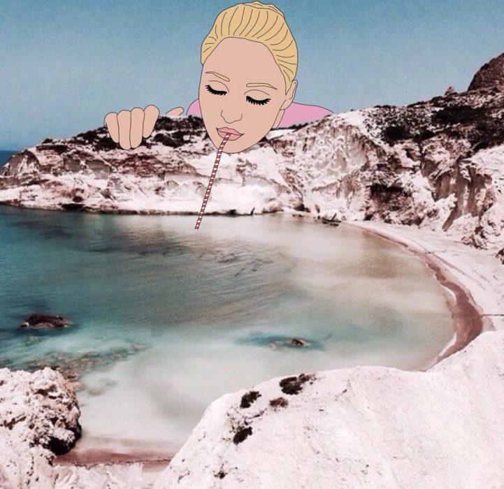 Ilustraciones Julia - mujer tomándose el mar con un popote