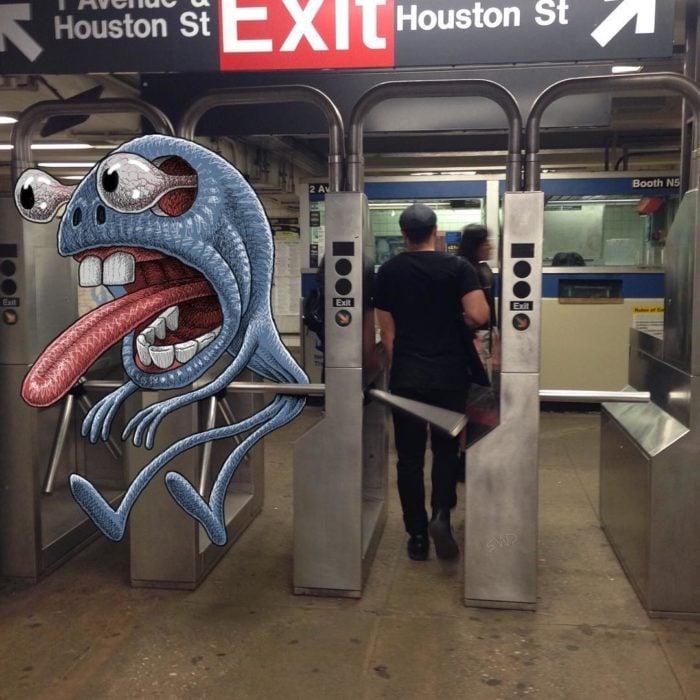 Ilustraciones metro - monstruo se atoró a la salida