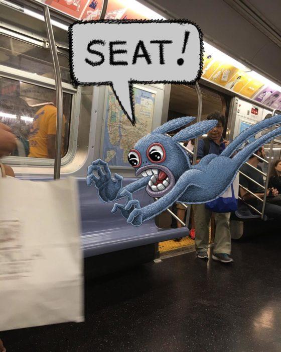 Ilustraciones metro - un monstruo apartando un lugar en el metro
