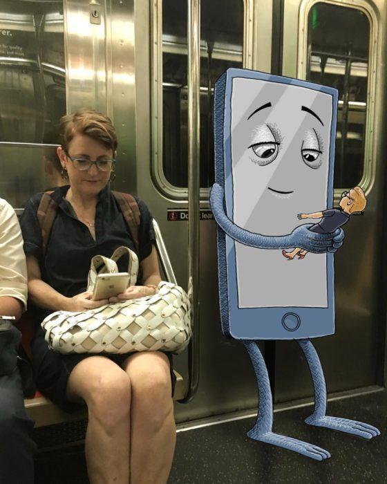 Ilustraciones metro - un monstruo de celular jugando con su persona