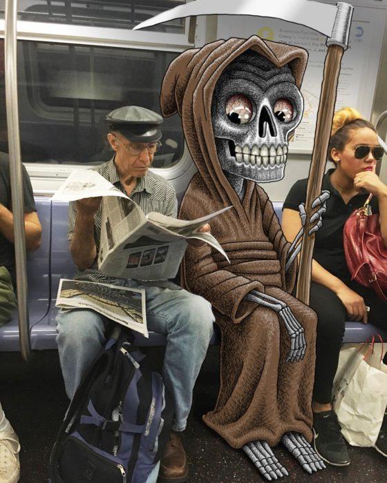 Ilustraciones metro - la muerte viendo el periodico del de al lado