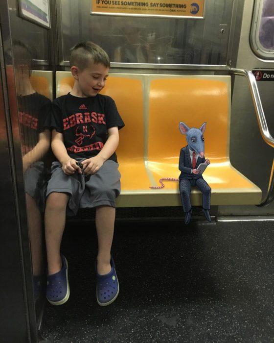 Ilustraciones metro - rata en el metro