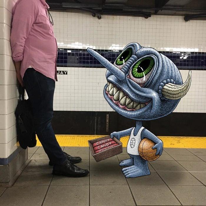 Ilustraciones metro - monstruo vendiendo dulces