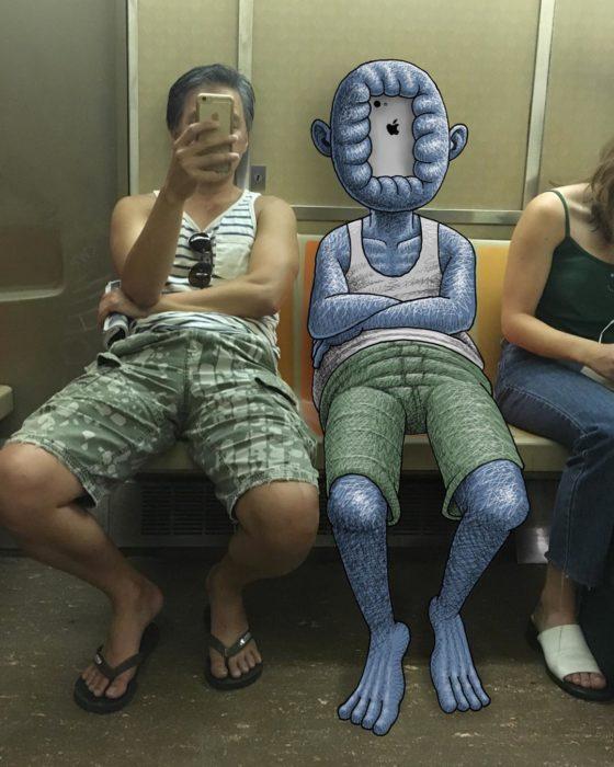 Ilustraciones metro - monstruo con cara de iphone