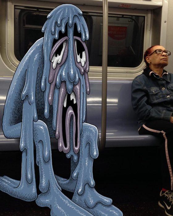 Ilustraciones metro - monstruo derritiendose