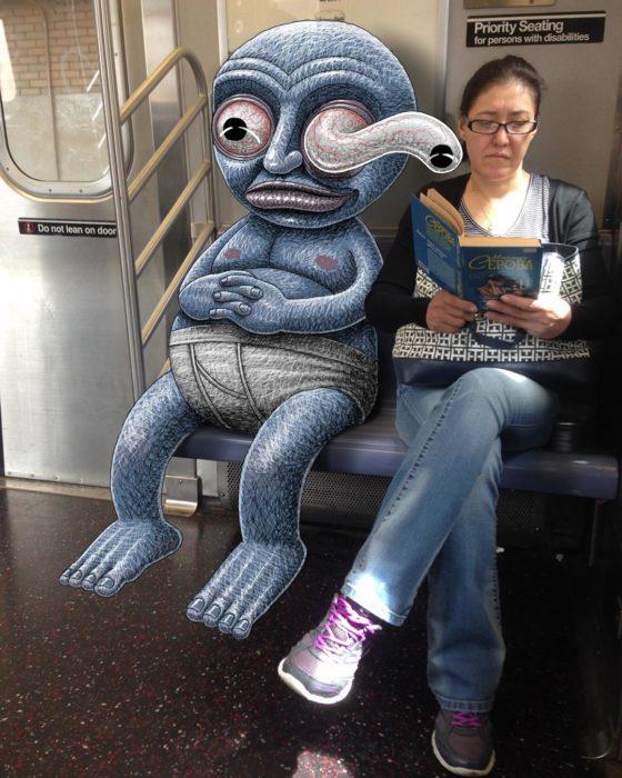 Ilustraciones metro - monstruo viendo lo que otra persona esta leyendo