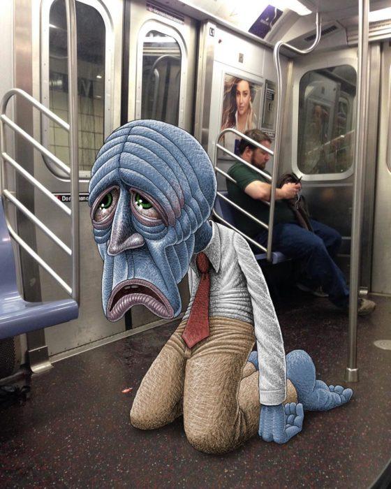Ilustraciones metro - monstruo agotado por el trabajo