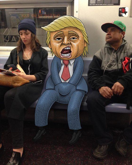 Ilustraciones metro - monstruo donald trump tocandose abajo del pantalon