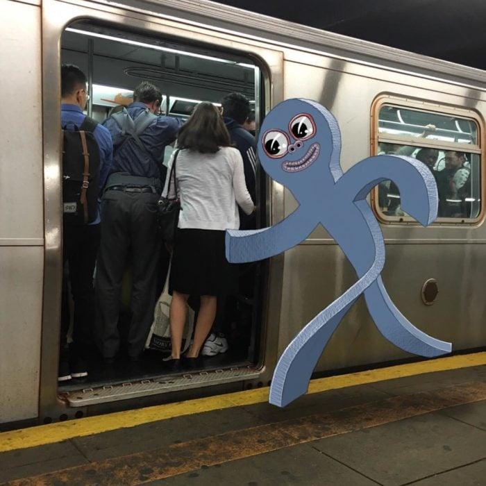 Ilustraciones metro - monstruo alcanzando el metro