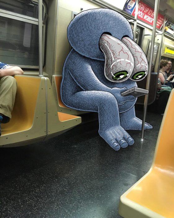 Ilustraciones metro - un monstruo con los ojos de fuera