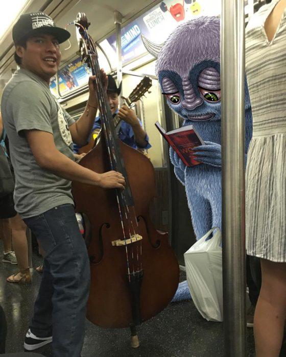 Ilustraciones metro - un monstruo leyendo
