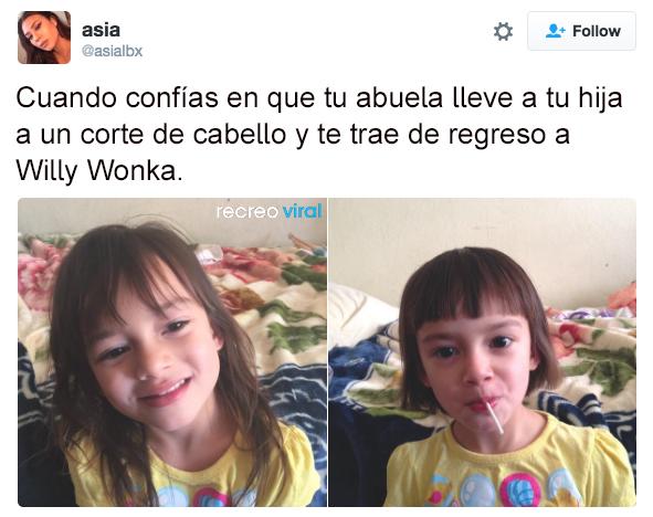 Niña corte de cabello Willy Wonka