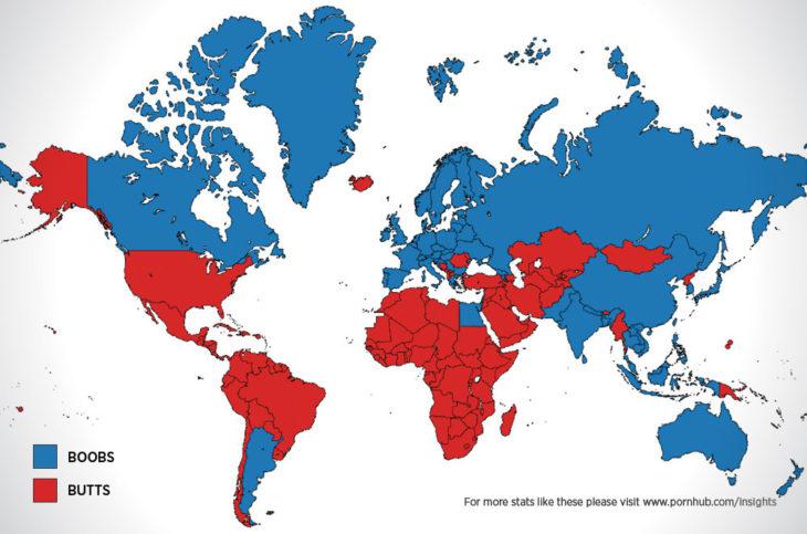 Mapas curiosidades mundo - pecho o trasero