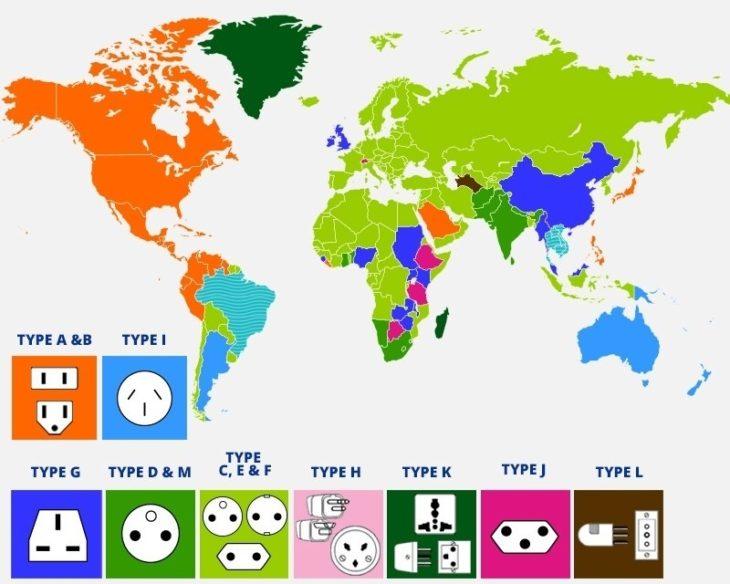 Mapas curiosidades mundo - enchufes
