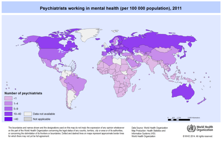 Mapas curiosidades mundo - psiquiatras