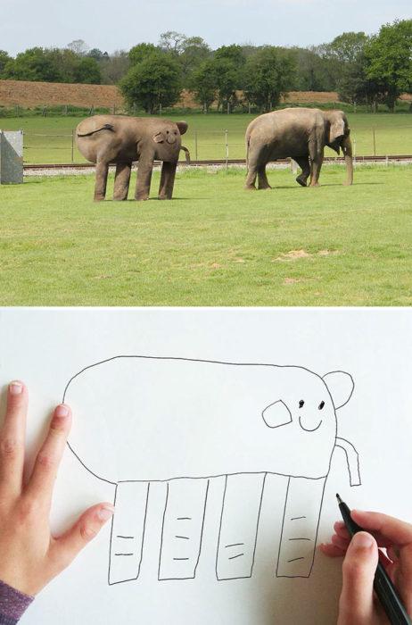 Papá recrea dibujos hijo - elefante