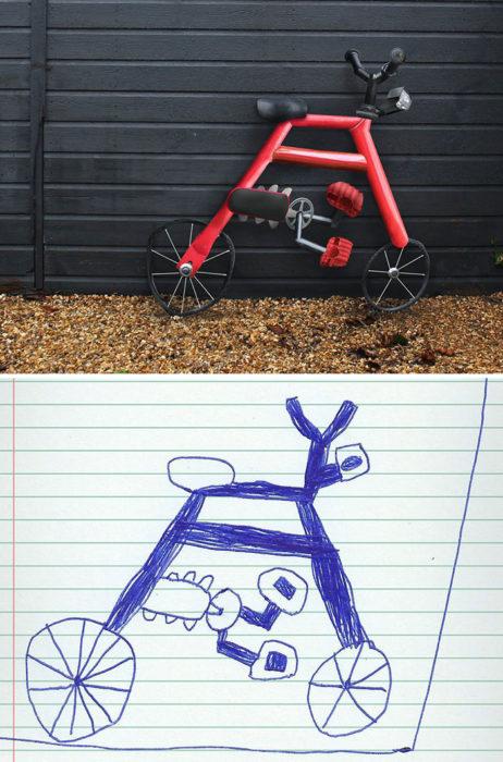 Papá recrea dibujos hijo - bicicleta