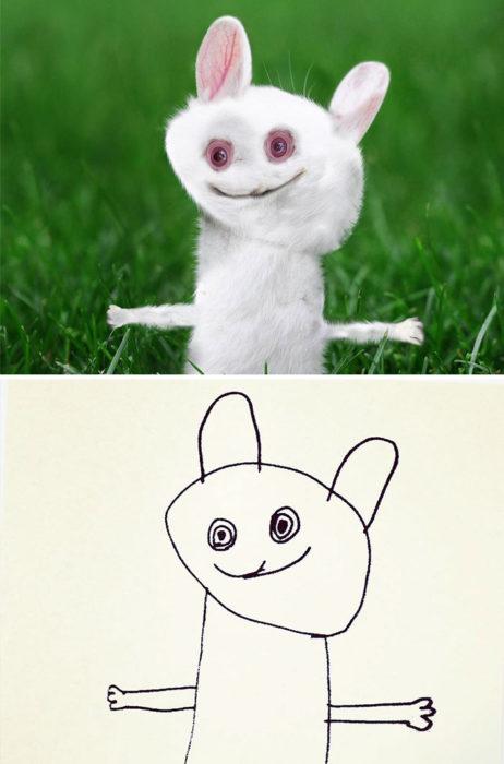 Papá recrea dibujos hijo - conejo