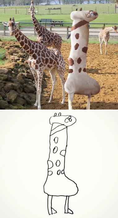 Papá recrea dibujos hijo - jirafa