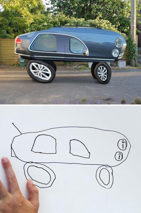 Papá recrea dibujos hijo - carro