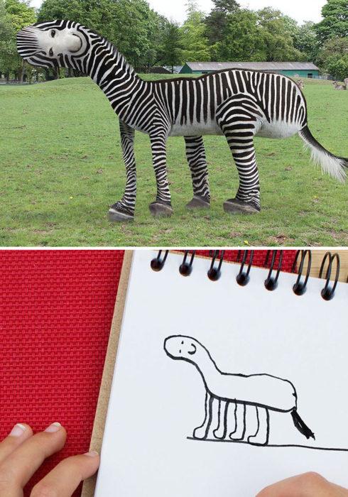 Papá recrea dibujos hijo - cebra
