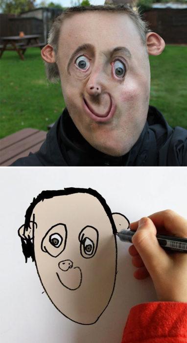 Papá recrea dibujos hijo - hombre
