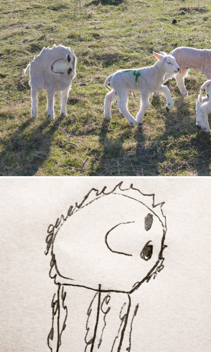 Papá recrea dibujos hijo - becerro