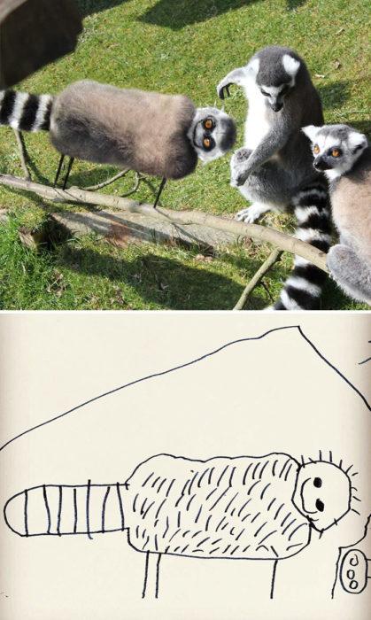 Papá recrea dibujos hijo - lemur