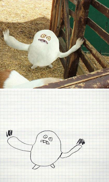 Papá recrea dibujos hijo - animal extraño