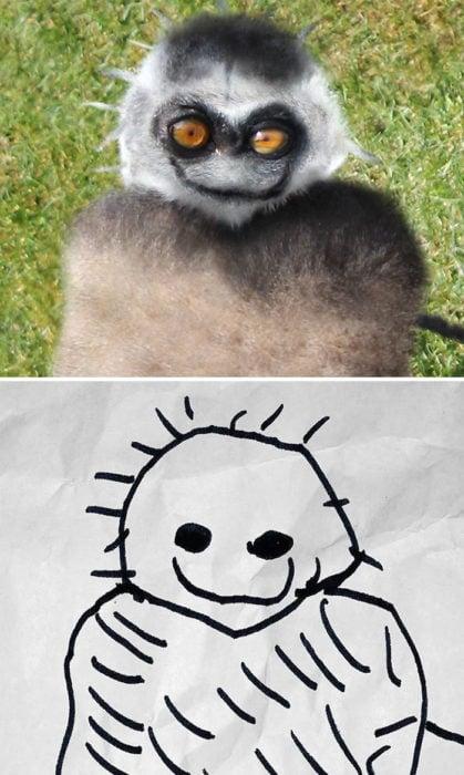 Papá recrea dibujos hijo - mono
