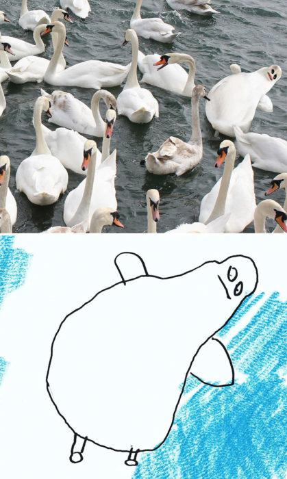 Papá recrea dibujos hijo - cisne