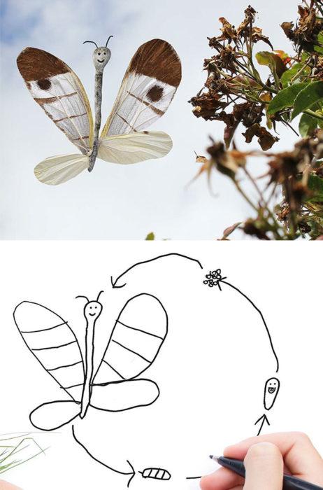 Papá recrea dibujos hijo - mariposa