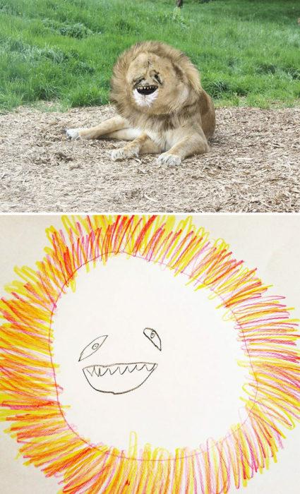 Papá recrea dibujos hijo - leon