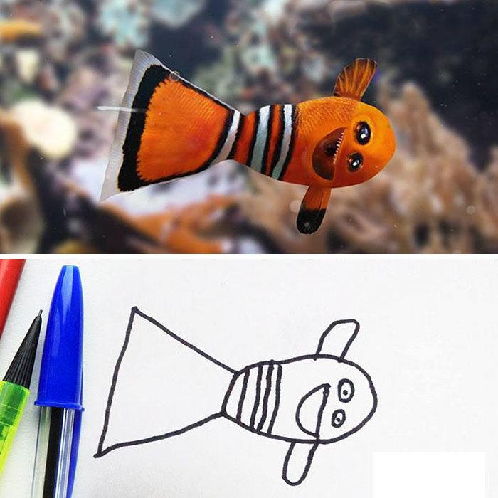 Papá recrea dibujos hijo - pez payaso