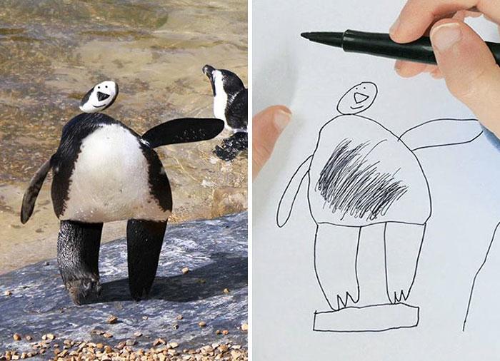 Papá recrea dibujos hijo - pinguino